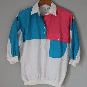 Vintage 80's color block puff shirt